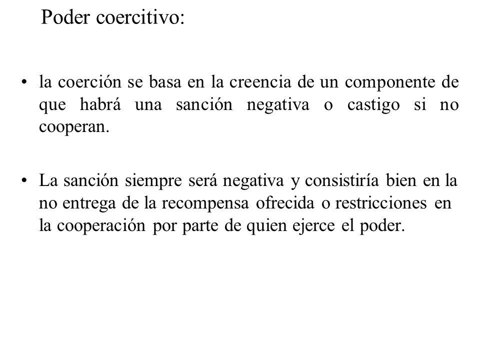 Poder coercitivo: la coerción se basa en la creencia de un componente de que habrá una sanción negativa o castigo si no cooperan. La sanción siempre s