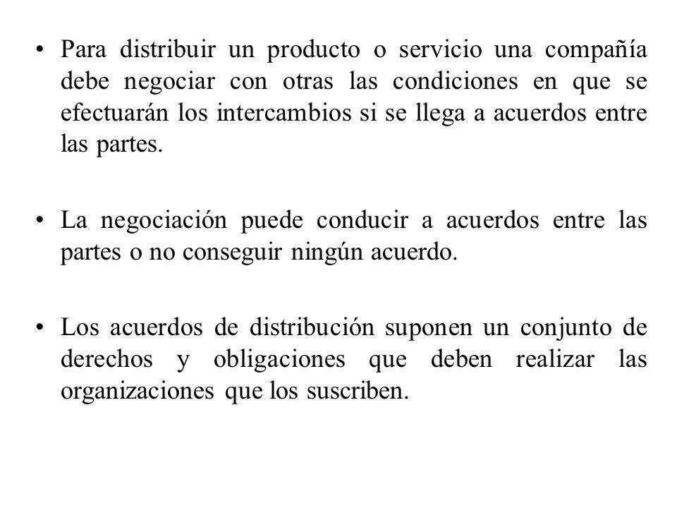 Para distribuir un producto o servicio una compañía debe negociar con otras las condiciones en que se efectuarán los intercambios si se llega a acuerd