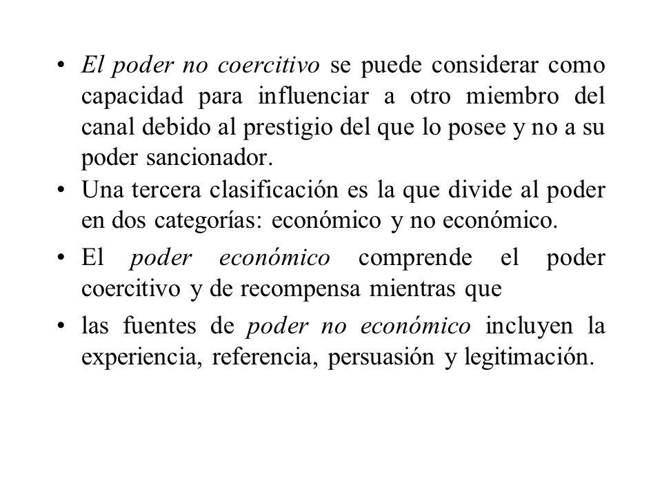 El poder no coercitivo se puede considerar como capacidad para influenciar a otro miembro del canal debido al prestigio del que lo posee y no a su pod