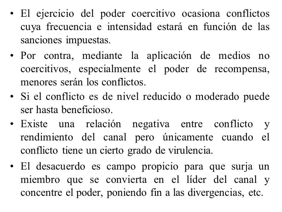 El ejercicio del poder coercitivo ocasiona conflictos cuya frecuencia e intensidad estará en función de las sanciones impuestas. Por contra, mediante