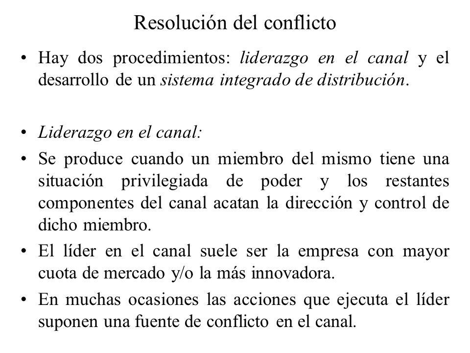 Resolución del conflicto Hay dos procedimientos: liderazgo en el canal y el desarrollo de un sistema integrado de distribución. Liderazgo en el canal: