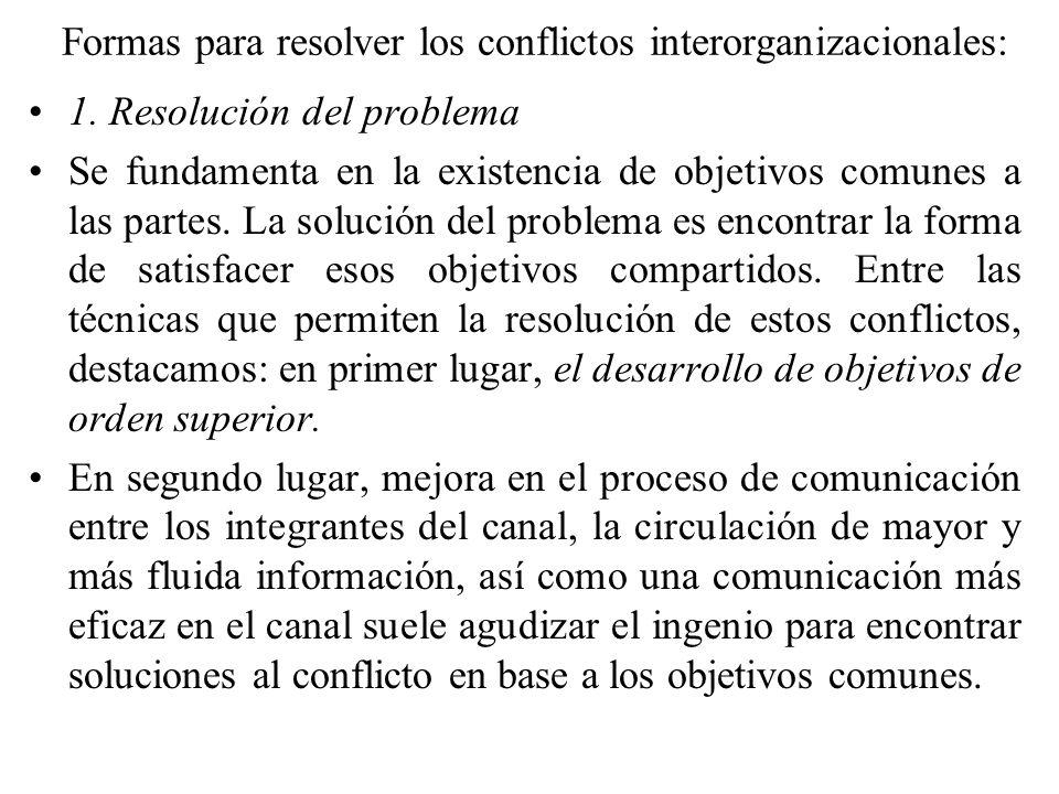Formas para resolver los conflictos interorganizacionales: 1. Resolución del problema Se fundamenta en la existencia de objetivos comunes a las partes