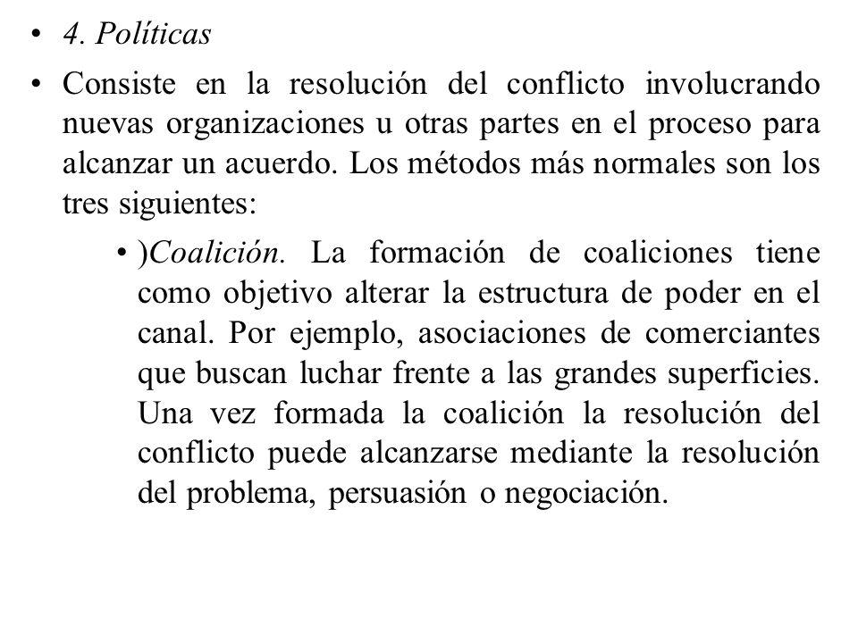 4. Políticas Consiste en la resolución del conflicto involucrando nuevas organizaciones u otras partes en el proceso para alcanzar un acuerdo. Los mét