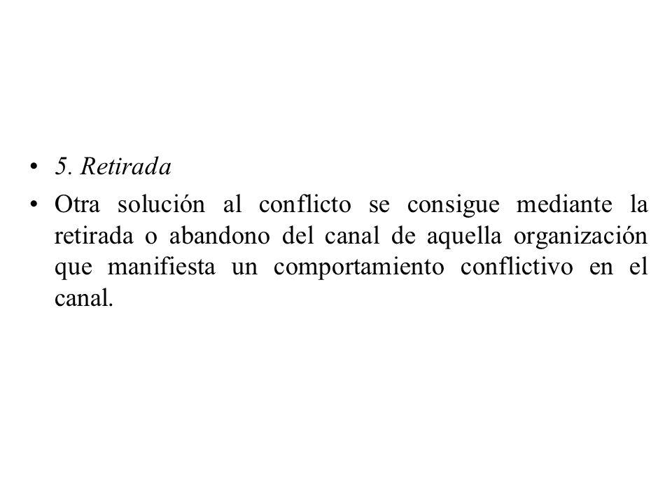 5. Retirada Otra solución al conflicto se consigue mediante la retirada o abandono del canal de aquella organización que manifiesta un comportamiento