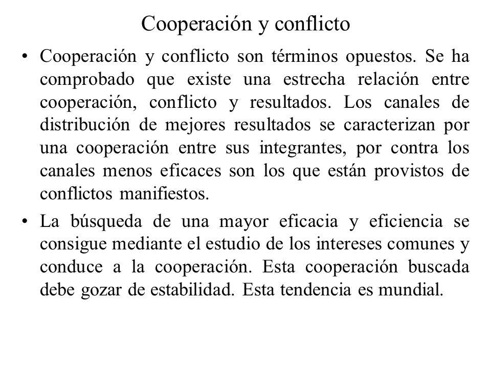 Cooperación y conflicto Cooperación y conflicto son términos opuestos. Se ha comprobado que existe una estrecha relación entre cooperación, conflicto