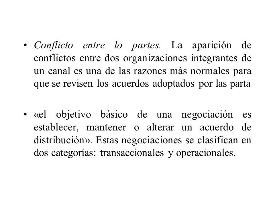 Negociación transaccional: Son negociaciones que tienen por misión establecer los términos y condiciones relacionados con la transferencia de la propiedad de bienes y servicios.