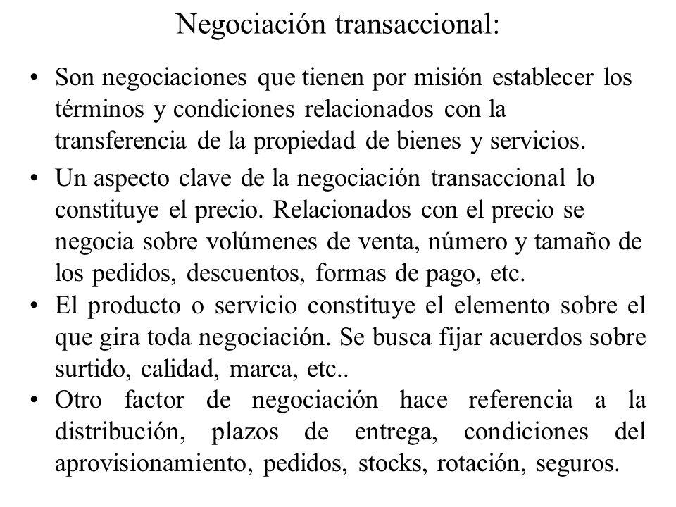 Negociación transaccional: Son negociaciones que tienen por misión establecer los términos y condiciones relacionados con la transferencia de la propi