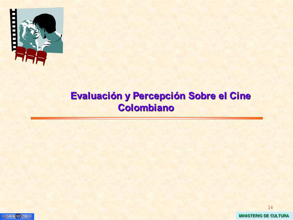14 MINISTERIO DE CULTURA Evaluación y Percepción Sobre el Cine Colombiano Evaluación y Percepción Sobre el Cine Colombiano