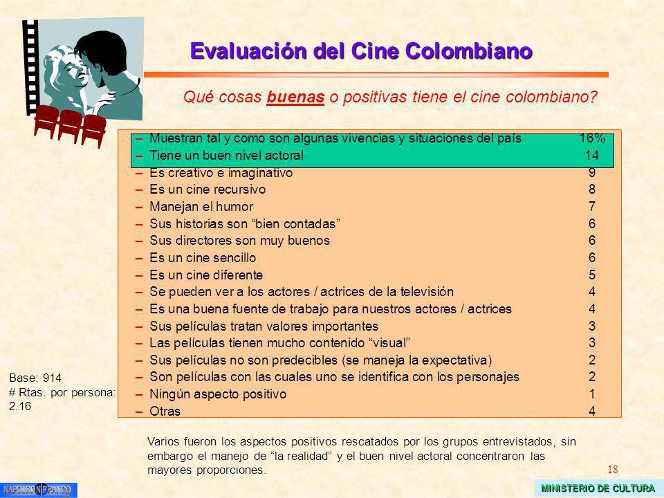 18 MINISTERIO DE CULTURA Evaluación del Cine Colombiano Qué cosas buenas o positivas tiene el cine colombiano? Base: 914 # Rtas. por persona: 2.16 –Mu