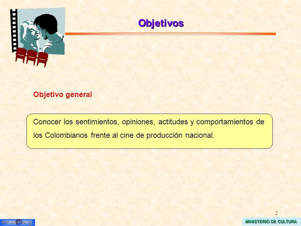 2 MINISTERIO DE CULTURA Objetivos Objetivo general Conocer los sentimientos, opiniones, actitudes y comportamientos de los Colombianos frente al cine de producción nacional.