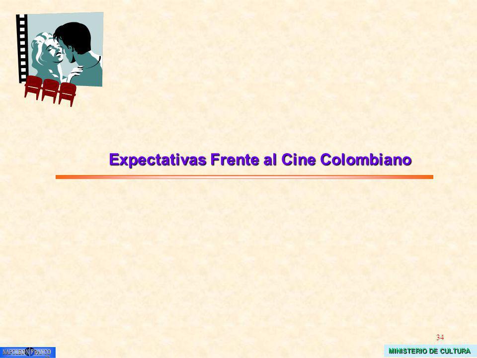 34 MINISTERIO DE CULTURA Expectativas Frente al Cine Colombiano Expectativas Frente al Cine Colombiano