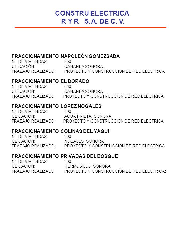 FRACCIONAMIENTO NAPOLEÓN GOMEZSADA Nº DE VIVIENDAS: 250 UBICACIÓN : CANANEA SONORA TRABAJO REALIZADO: PROYECTO Y CONSTRUCCIÓN DE RED ELECTRICA FRACCIO