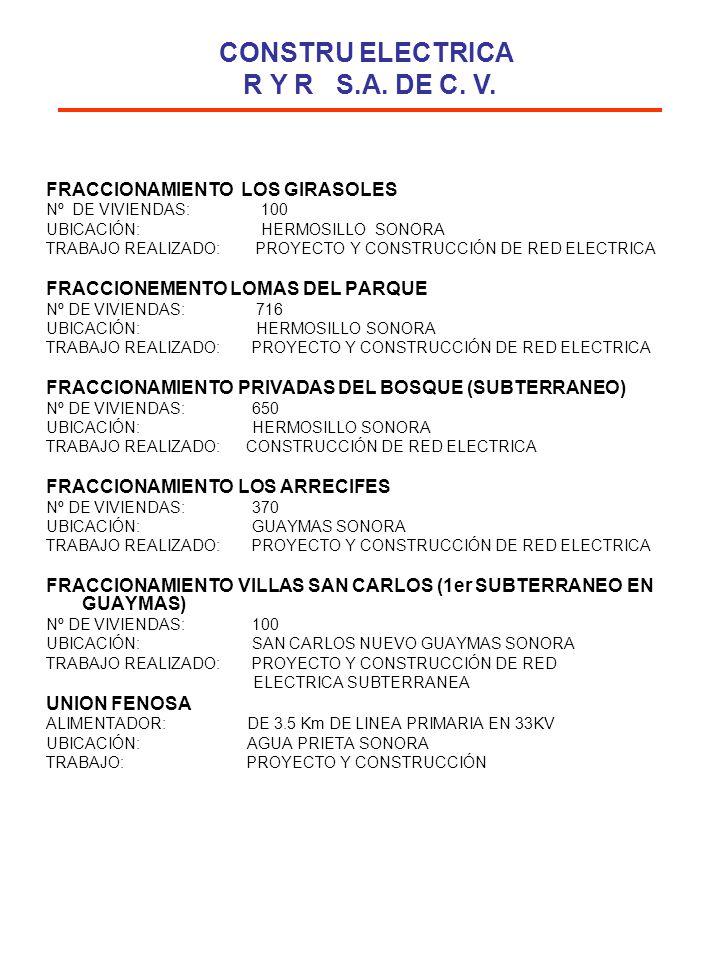 FRACCIONAMIENTO LOS GIRASOLES Nº DE VIVIENDAS: 100 UBICACIÓN: HERMOSILLO SONORA TRABAJO REALIZADO: PROYECTO Y CONSTRUCCIÓN DE RED ELECTRICA FRACCIONEM