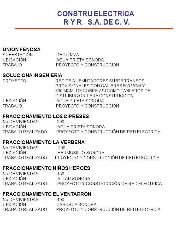UNION FENOSA SUBESTACIÓN: DE 1.5 MVA UBICACIÓN: AGUA PRIETA SONORA TRABAJO: PROYECTO Y CONSTRUCCION SOLUCIONA INGENIERIA PROYECTO: RED DE ALIEMNTADORE