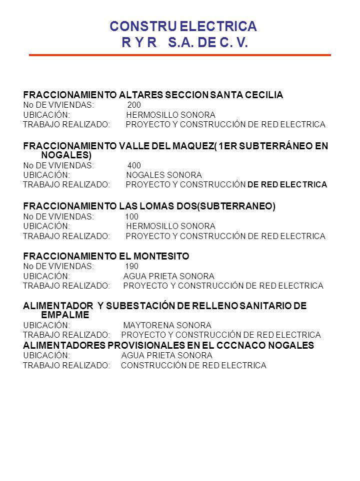 FRACCIONAMIENTO ALTARES SECCION SANTA CECILIA No DE VIVIENDAS: 200 UBICACIÓN: HERMOSILLO SONORA TRABAJO REALIZADO: PROYECTO Y CONSTRUCCIÓN DE RED ELEC