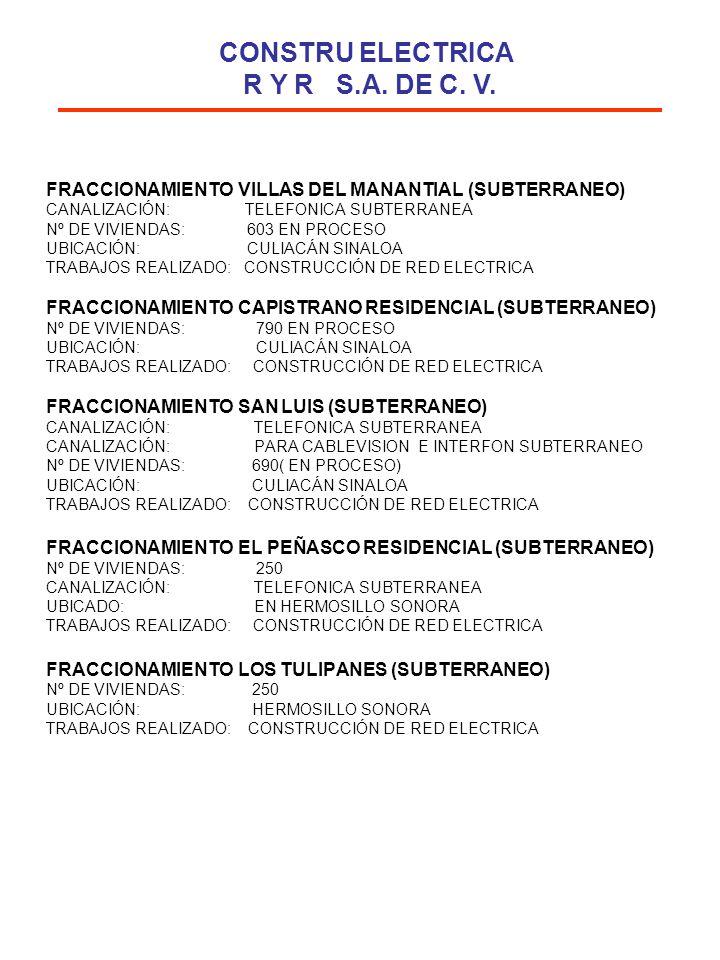 FRACCIONAMIENTO VILLAS DEL MANANTIAL (SUBTERRANEO) CANALIZACIÓN: TELEFONICA SUBTERRANEA Nº DE VIVIENDAS: 603 EN PROCESO UBICACIÓN: CULIACÁN SINALOA TR