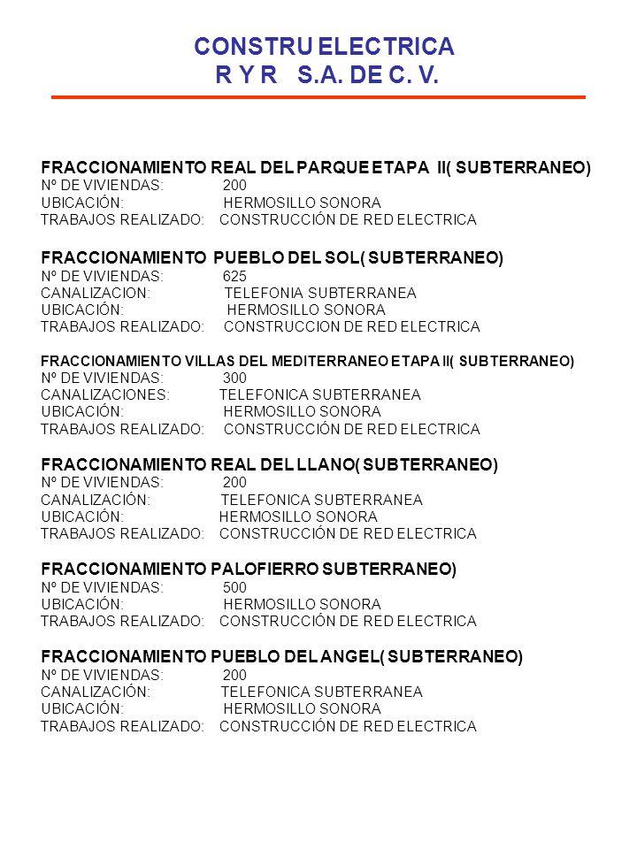 FRACCIONAMIENTO REAL DEL PARQUE ETAPA II( SUBTERRANEO) Nº DE VIVIENDAS: 200 UBICACIÓN: HERMOSILLO SONORA TRABAJOS REALIZADO: CONSTRUCCIÓN DE RED ELECT