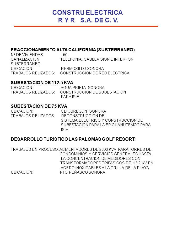 FRACCIONAMIENTO ALTA CALIFORNIA (SUBTERRANEO) Nº DE VIVIENDAS 150 CANALIZACION TELEFONIA, CABLEVISION E INTERFON SUBTERRANEO UBICACION: HERMOSILLO SON