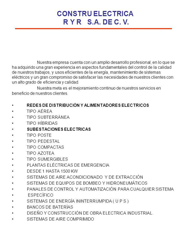 FRACCIONAMIENTO REAL DEL PARQUE ETAPA II( SUBTERRANEO) Nº DE VIVIENDAS: 200 UBICACIÓN: HERMOSILLO SONORA TRABAJOS REALIZADO: CONSTRUCCIÓN DE RED ELECTRICA FRACCIONAMIENTO PUEBLO DEL SOL( SUBTERRANEO) Nº DE VIVIENDAS: 625 CANALIZACION: TELEFONIA SUBTERRANEA UBICACIÓN: HERMOSILLO SONORA TRABAJOS REALIZADO: CONSTRUCCION DE RED ELECTRICA FRACCIONAMIENTO VILLAS DEL MEDITERRANEO ETAPA II( SUBTERRANEO) Nº DE VIVIENDAS: 300 CANALIZACIONES: TELEFONICA SUBTERRANEA UBICACIÓN: HERMOSILLO SONORA TRABAJOS REALIZADO: CONSTRUCCIÓN DE RED ELECTRICA FRACCIONAMIENTO REAL DEL LLANO( SUBTERRANEO) Nº DE VIVIENDAS: 200 CANALIZACIÓN: TELEFONICA SUBTERRANEA UBICACIÓN: HERMOSILLO SONORA TRABAJOS REALIZADO: CONSTRUCCIÓN DE RED ELECTRICA FRACCIONAMIENTO PALOFIERRO SUBTERRANEO) Nº DE VIVIENDAS: 500 UBICACIÓN: HERMOSILLO SONORA TRABAJOS REALIZADO: CONSTRUCCIÓN DE RED ELECTRICA FRACCIONAMIENTO PUEBLO DEL ANGEL( SUBTERRANEO) Nº DE VIVIENDAS: 200 CANALIZACIÓN: TELEFONICA SUBTERRANEA UBICACIÓN: HERMOSILLO SONORA TRABAJOS REALIZADO: CONSTRUCCIÓN DE RED ELECTRICA CONSTRU ELECTRICA R Y R S.A.