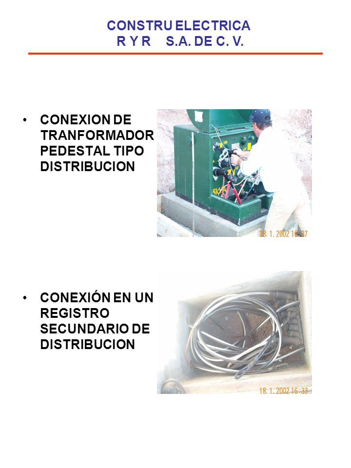 CONEXION DE TRANFORMADOR PEDESTAL TIPO DISTRIBUCION CONEXIÓN EN UN REGISTRO SECUNDARIO DE DISTRIBUCION CONSTRU ELECTRICA R Y R S.A. DE C. V.