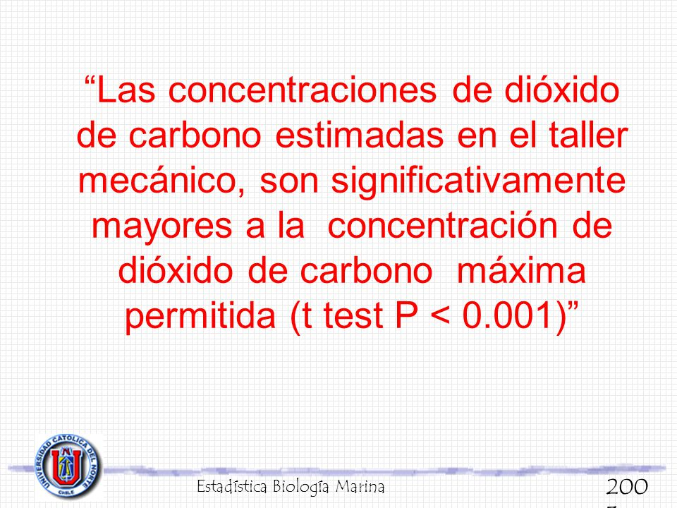 Las concentraciones de dióxido de carbono estimadas en el taller mecánico, son significativamente mayores a la concentración de dióxido de carbono máx