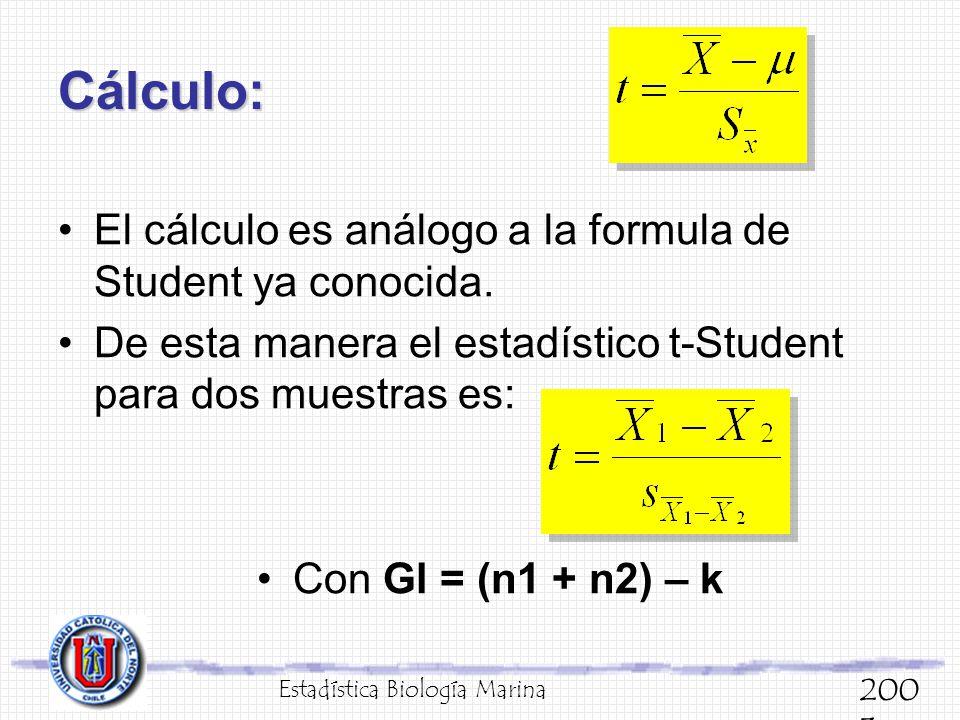 Cálculo: El cálculo es análogo a la formula de Student ya conocida. De esta manera el estadístico t-Student para dos muestras es: Con Gl = (n1 + n2) –