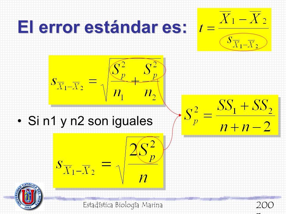 El error estándar es: Estadística Biología Marina 200 3 Si n1 y n2 son iguales