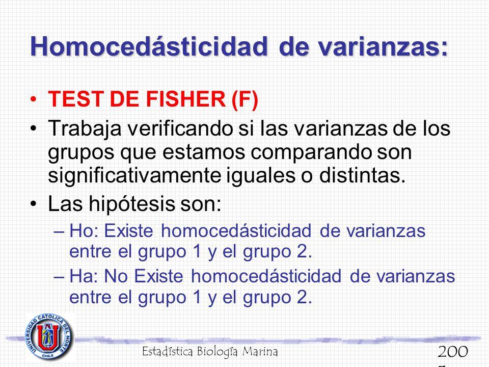 Homocedásticidad de varianzas: TEST DE FISHER (F) Trabaja verificando si las varianzas de los grupos que estamos comparando son significativamente igu