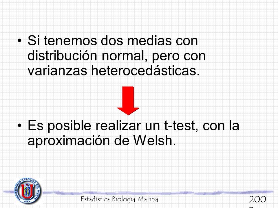 Si tenemos dos medias con distribución normal, pero con varianzas heterocedásticas. Es posible realizar un t-test, con la aproximación de Welsh. Estad
