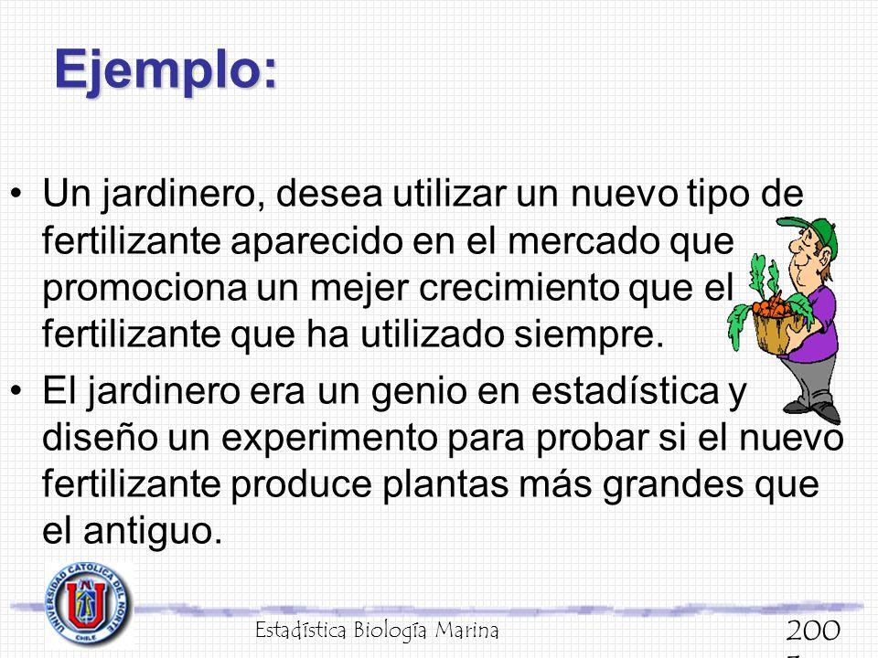 Ejemplo: Un jardinero, desea utilizar un nuevo tipo de fertilizante aparecido en el mercado que promociona un mejer crecimiento que el fertilizante qu