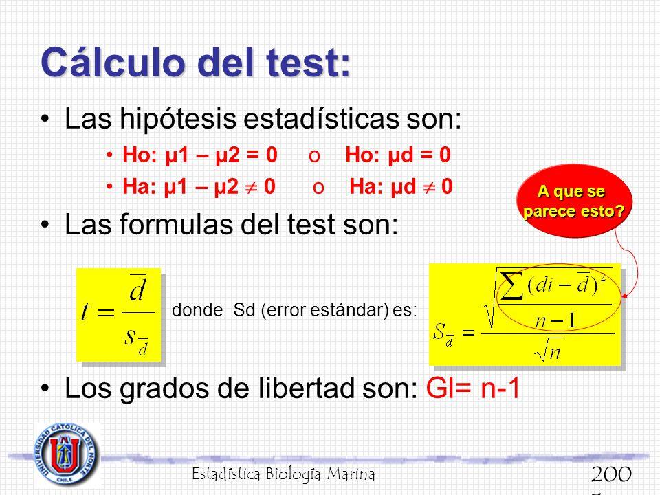 Cálculo del test: Las hipótesis estadísticas son: Ho: μ1 – μ2 = 0 o Ho: μd = 0 Ha: μ1 – μ2 0 o Ha: μd 0 Las formulas del test son: donde Sd (error est