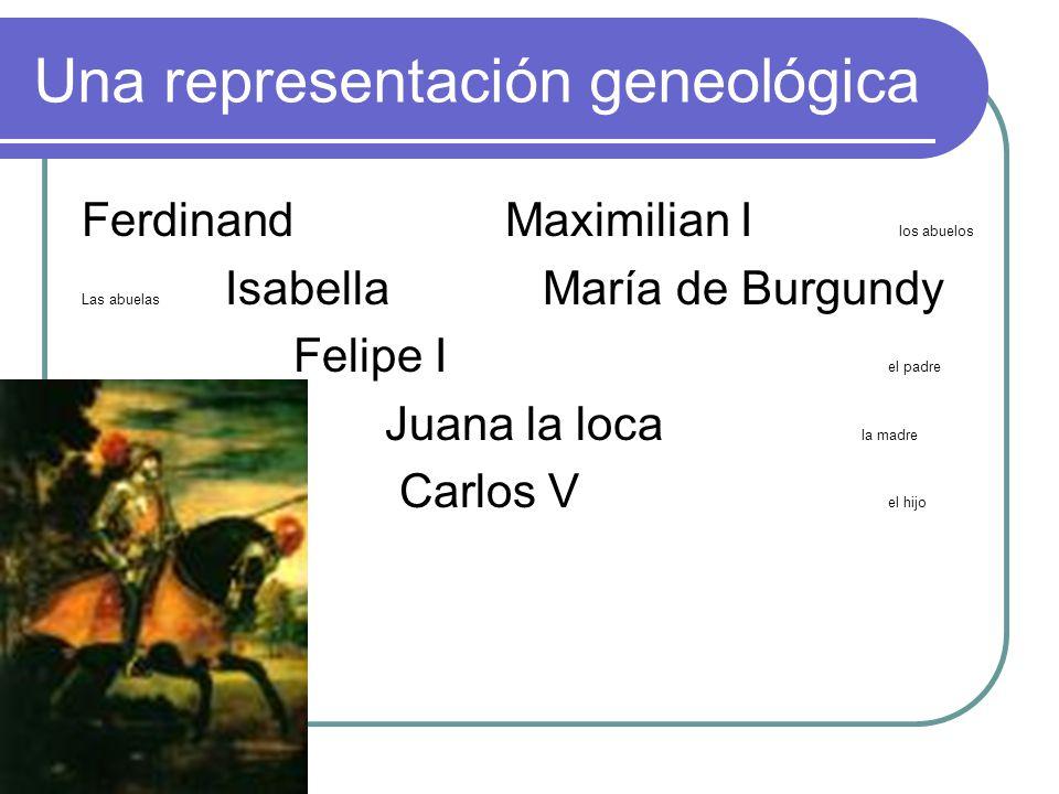 Una representación geneológica FerdinandMaximilian I los abuelos Las abuelas Isabella María de Burgundy Felipe I el padre Juana la loca la madre Carlo