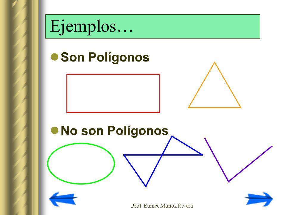 Prof. Eunice Muñoz Rivera Ejemplos… Son Polígonos No son Polígonos