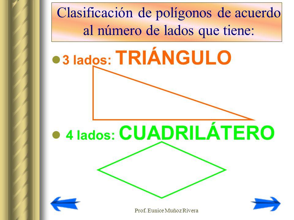 Prof. Eunice Muñoz Rivera Clasificación de polígonos de acuerdo al número de lados que tiene: 3 lados: TRIÁNGULO 4 lados: CUADRILÁTERO