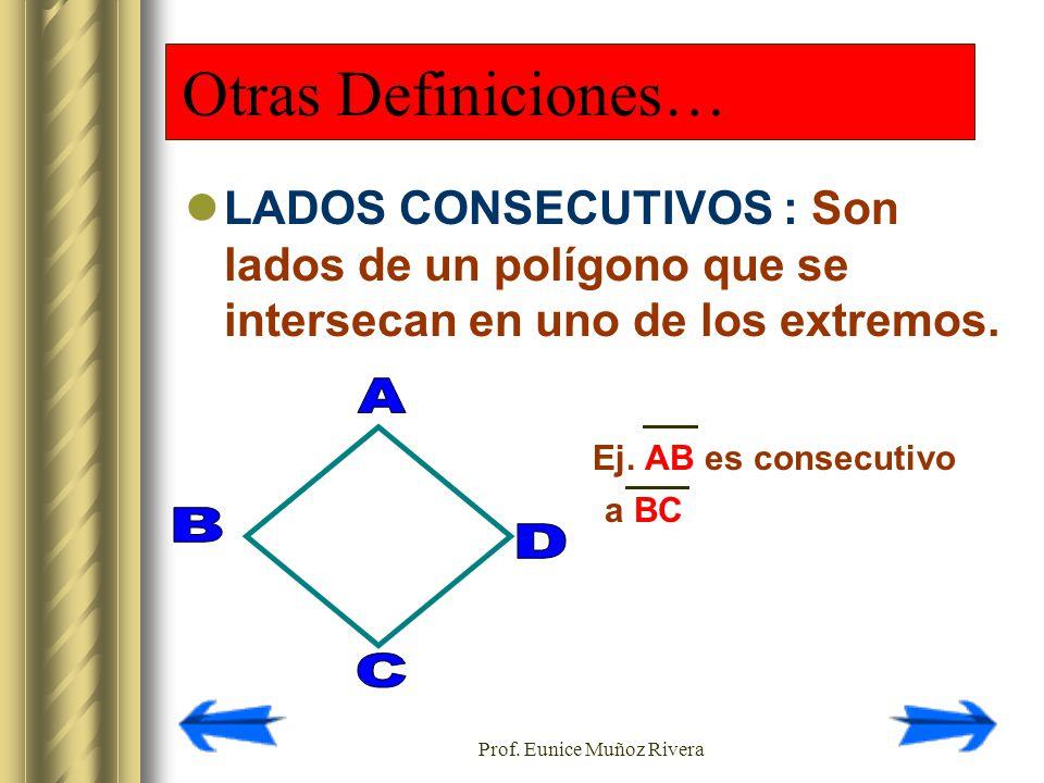 Prof. Eunice Muñoz Rivera Otras Definiciones… LADOS CONSECUTIVOS : Son lados de un polígono que se intersecan en uno de los extremos. Ej. AB es consec