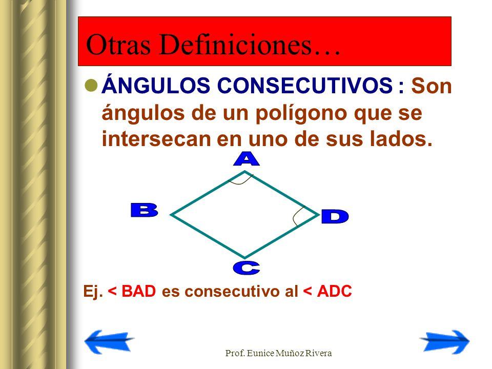 Prof. Eunice Muñoz Rivera ÁNGULOS CONSECUTIVOS : Son ángulos de un polígono que se intersecan en uno de sus lados. Ej. < BAD es consecutivo al < ADC O