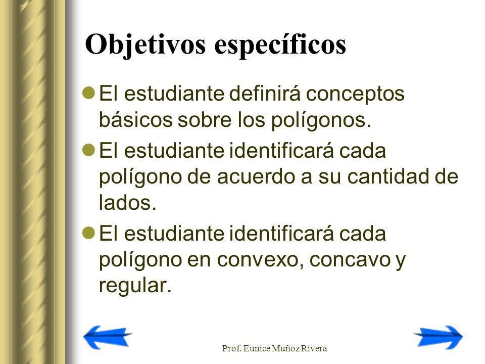 Prof. Eunice Muñoz Rivera Objetivos específicos El estudiante definirá conceptos básicos sobre los polígonos. El estudiante identificará cada polígono