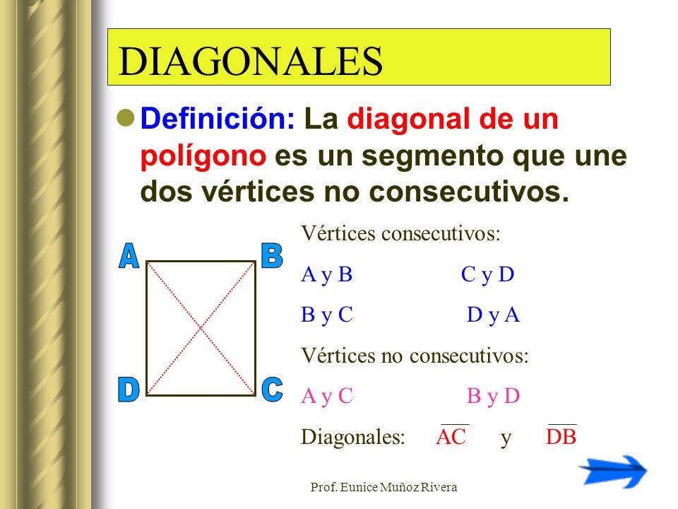 Prof. Eunice Muñoz Rivera DIAGONALES Definición: La diagonal de un polígono es un segmento que une dos vértices no consecutivos. Vértices consecutivos
