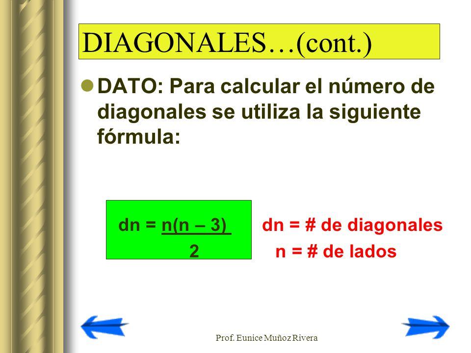 Prof. Eunice Muñoz Rivera DATO: Para calcular el número de diagonales se utiliza la siguiente fórmula: dn = n(n – 3) dn = # de diagonales 2 n = # de l