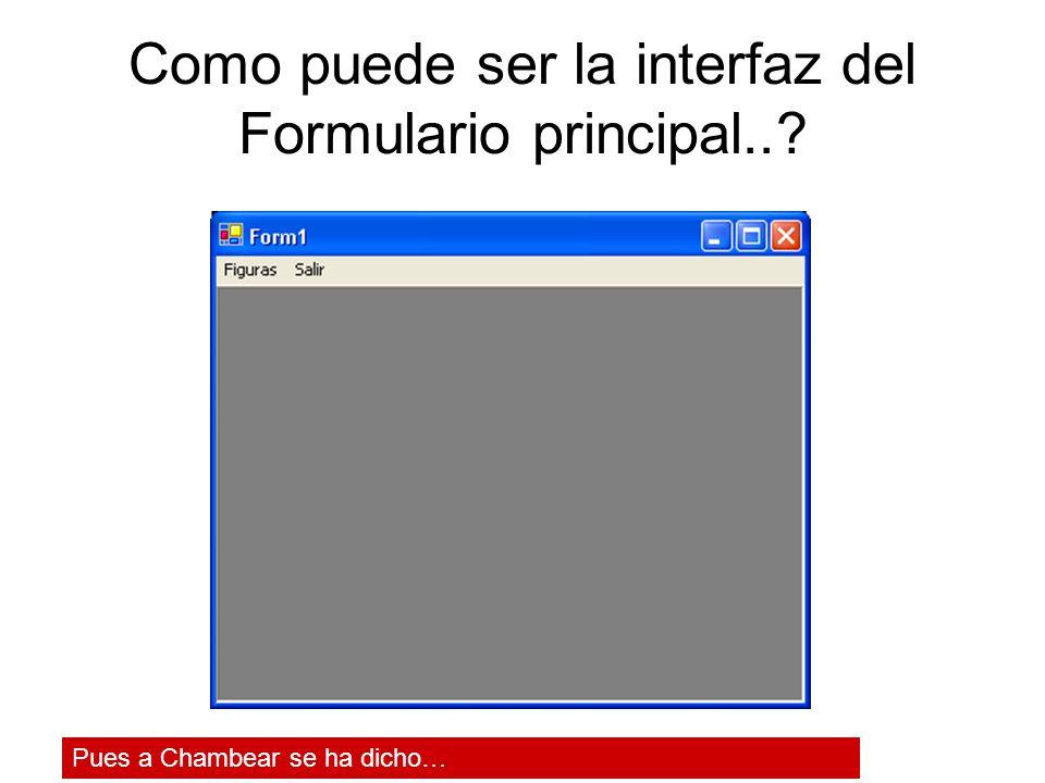 Como puede ser la interfaz del Formulario principal..? Pues a Chambear se ha dicho…