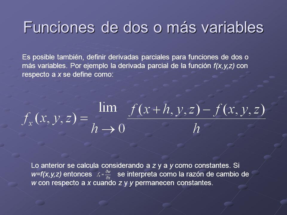 Funciones de dos o más variables Es posible también, definir derivadas parciales para funciones de dos o más variables.