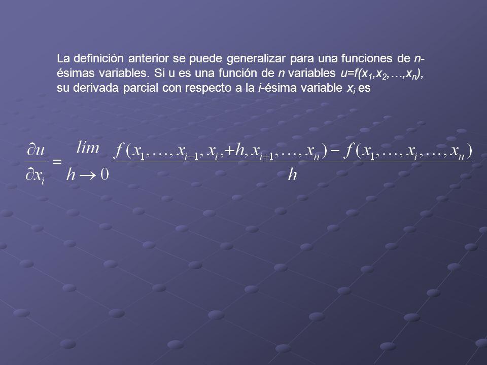 La definición anterior se puede generalizar para una funciones de n- ésimas variables.