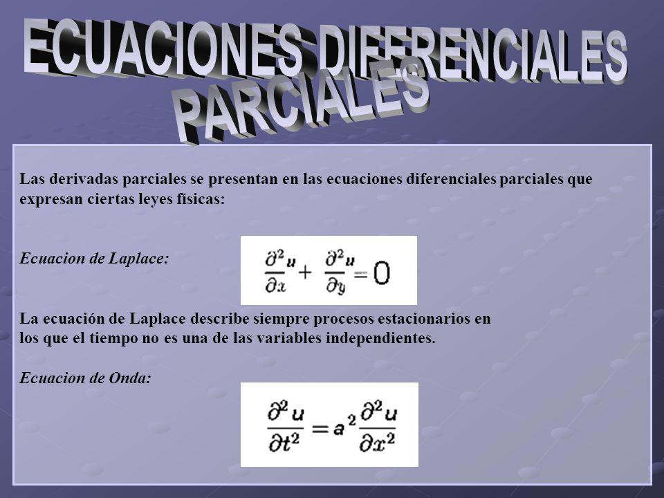 Las derivadas parciales se presentan en las ecuaciones diferenciales parciales que expresan ciertas leyes físicas: Ecuacion de Laplace: La ecuación de Laplace describe siempre procesos estacionarios en los que el tiempo no es una de las variables independientes.
