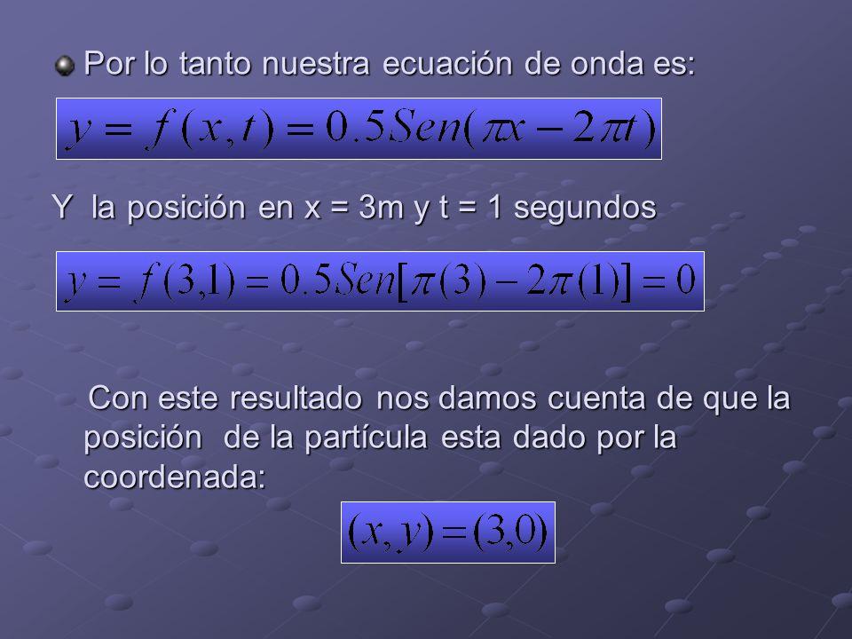 Por lo tanto nuestra ecuación de onda es: Y la posición en x = 3m y t = 1 segundos Con este resultado nos damos cuenta de que la posición de la partícula esta dado por la coordenada: Con este resultado nos damos cuenta de que la posición de la partícula esta dado por la coordenada: