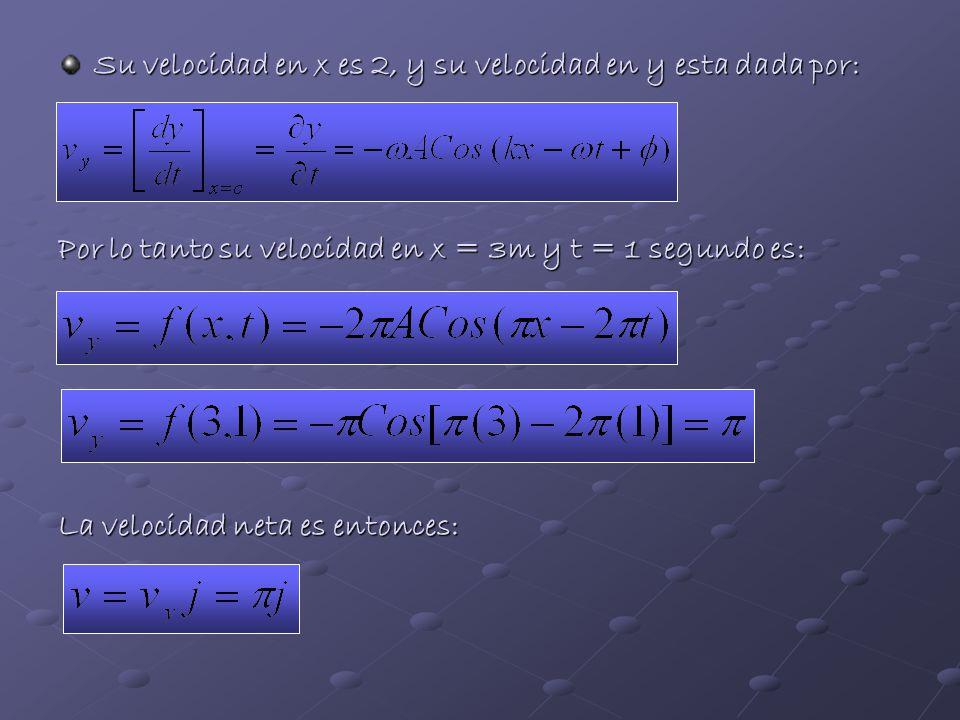 Su velocidad en x es 2, y su velocidad en y esta dada por: Por lo tanto su velocidad en x = 3m y t = 1 segundo es: La velocidad neta es entonces: