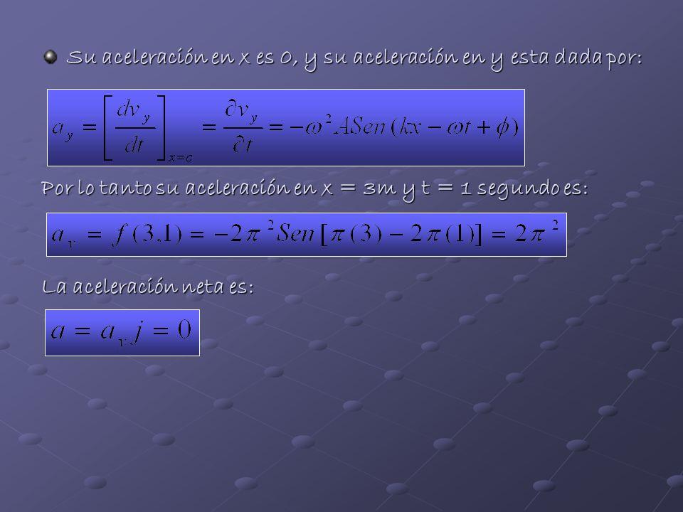 Su aceleración en x es 0, y su aceleración en y esta dada por: Por lo tanto su aceleración en x = 3m y t = 1 segundo es: La aceleración neta es: