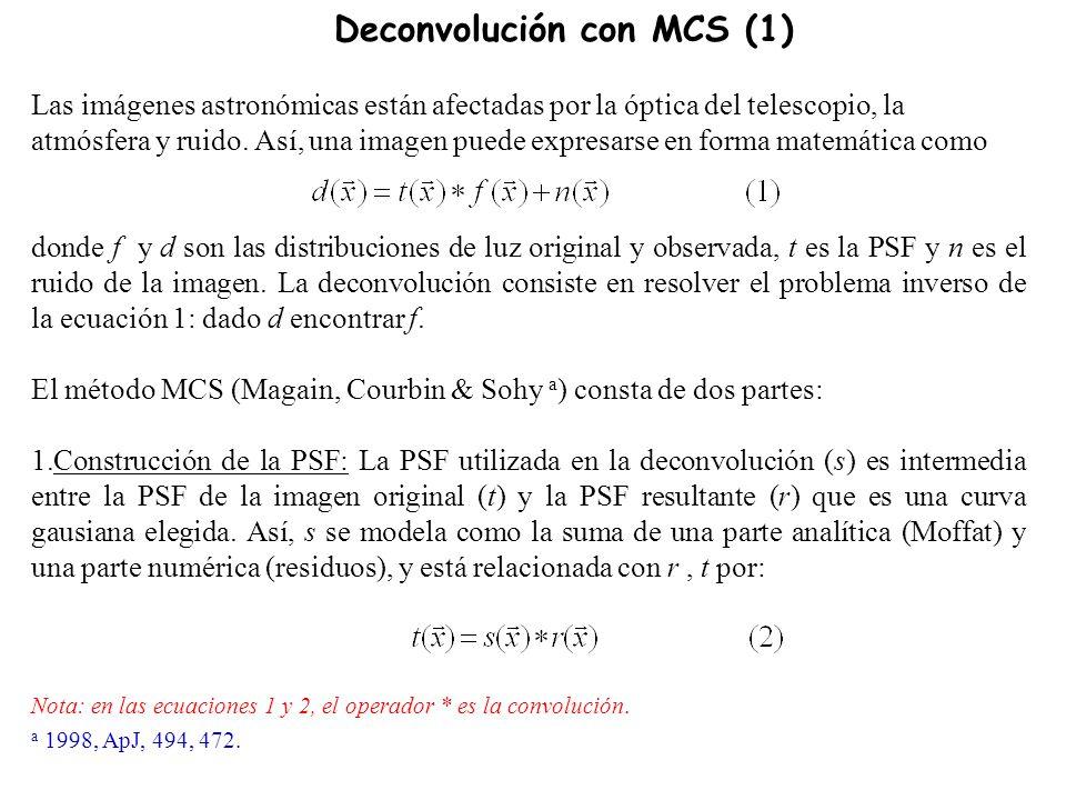Deconvolución con MCS (1) Las imágenes astronómicas están afectadas por la óptica del telescopio, la atmósfera y ruido.