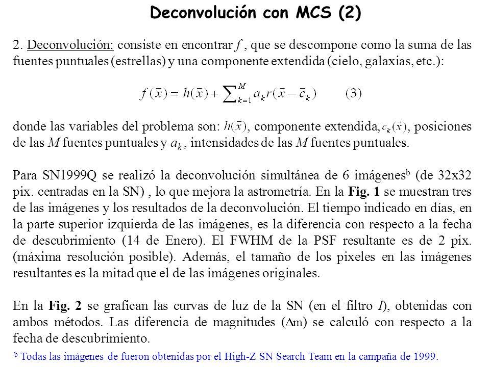2. Deconvolución: consiste en encontrar f, que se descompone como la suma de las fuentes puntuales (estrellas) y una componente extendida (cielo, gala