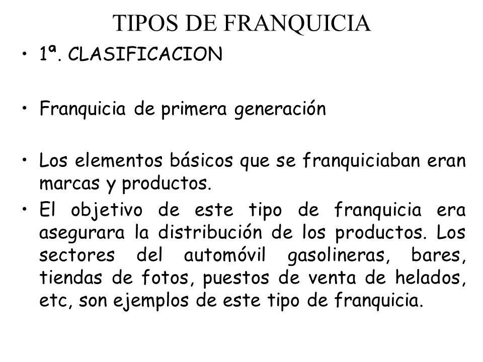 TIPOS DE FRANQUICIA 1ª. CLASIFICACION Franquicia de primera generación Los elementos básicos que se franquiciaban eran marcas y productos. El objetivo
