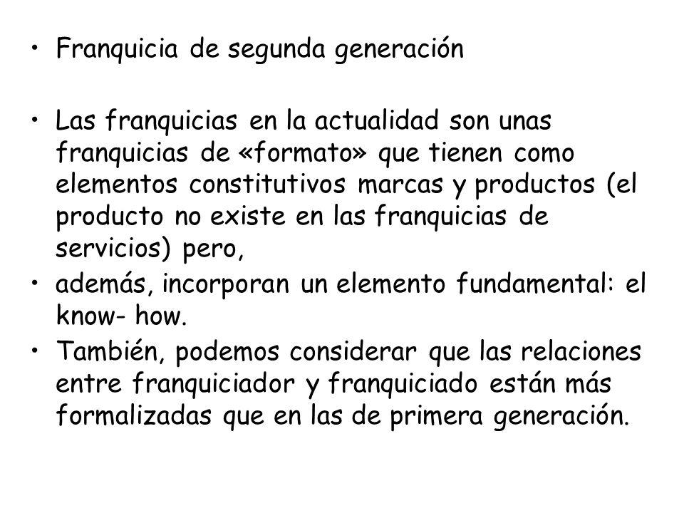Franquicia de segunda generación Las franquicias en la actualidad son unas franquicias de «formato» que tienen como elementos constitutivos marcas y p